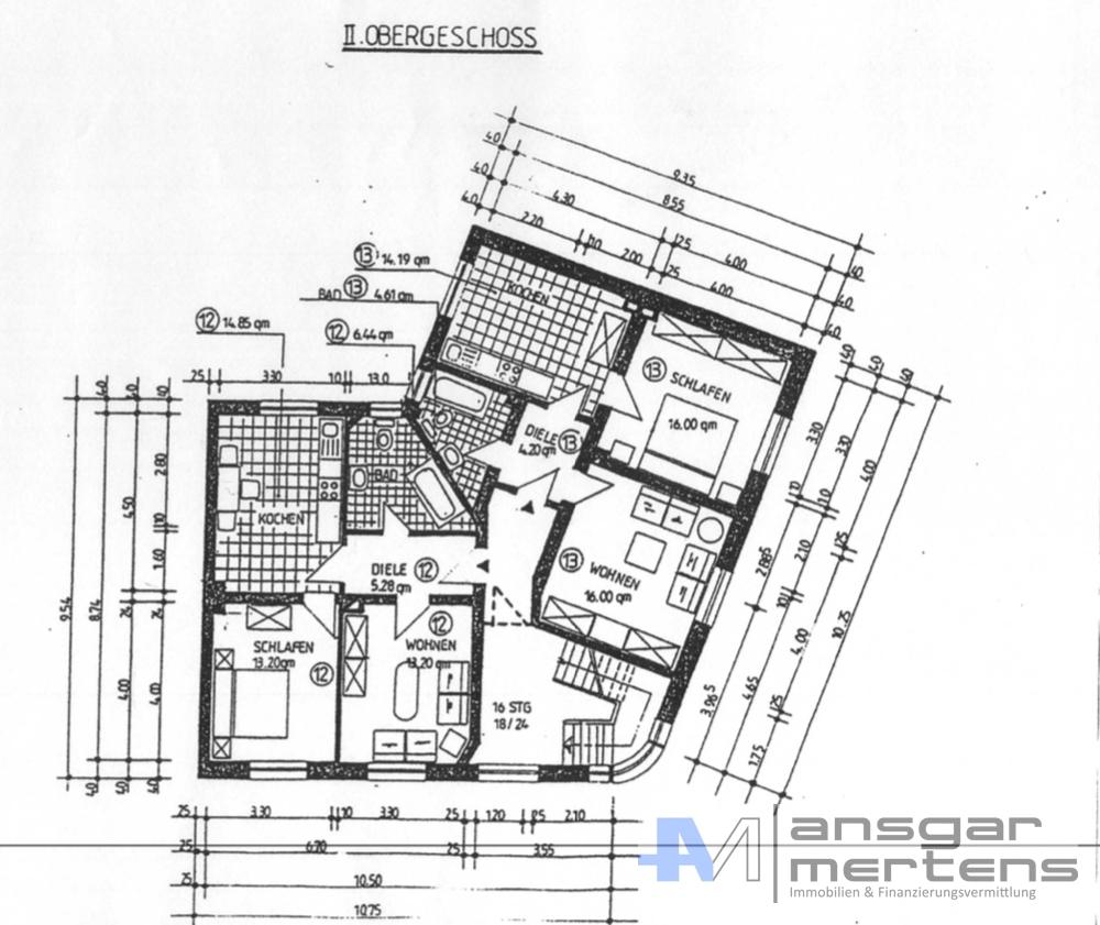 Grundriss II. Obergeschoss // Ursprung vor Umbau