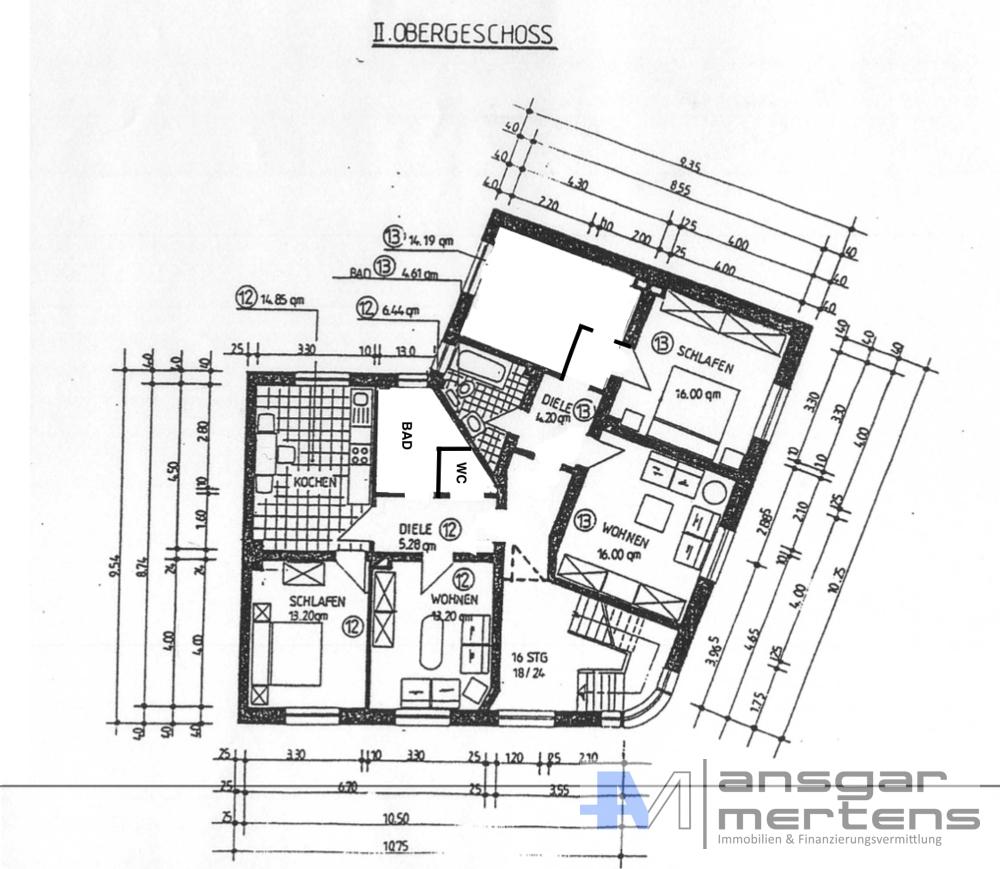 Grundriss II. Obergeschoss // Heute nach Umbau